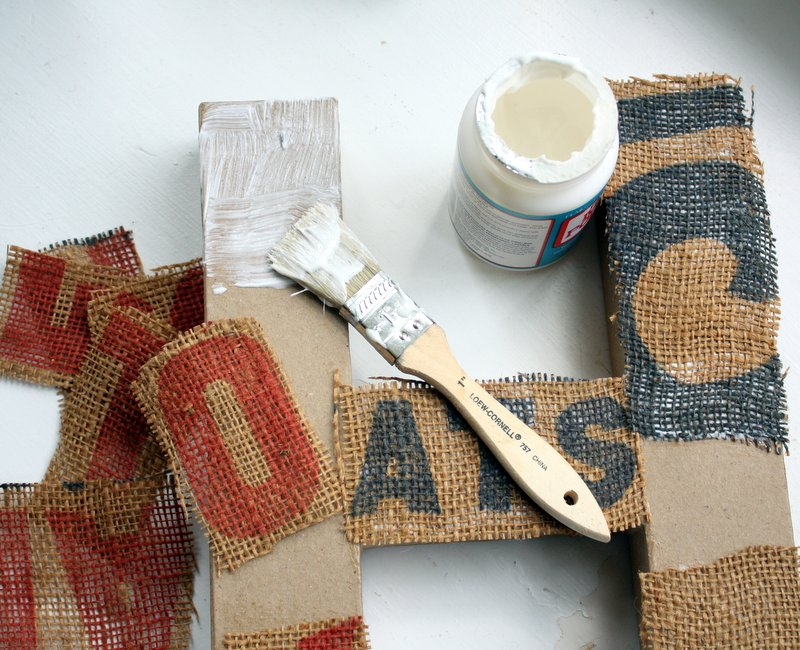 Burlap Covered Paper Mache Letter Project - Mitzi\'s Miscellany