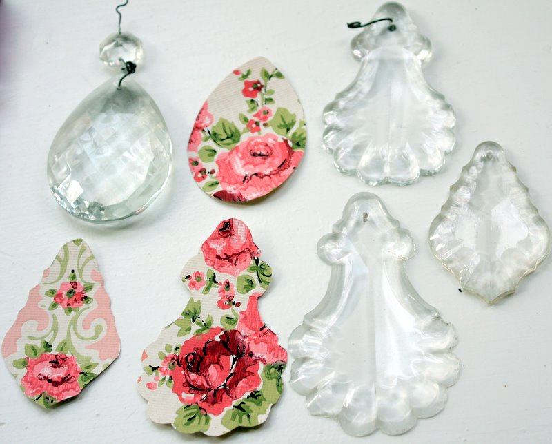 Chandelier Crystal and Vintage Wallpaper Pendant Tutorial ...